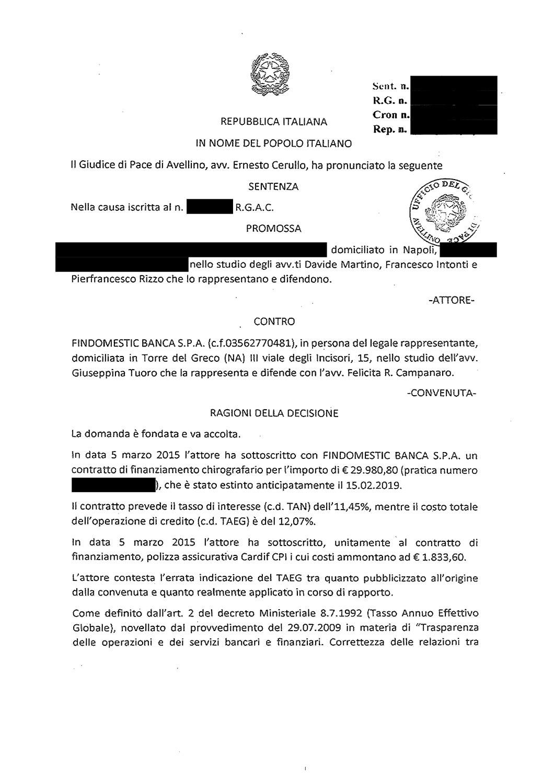 Findomestic | Contratto di finanziamento: errata indicazione del T.A.E.G. in caso di polizza assicurativa (giugno 2021)
